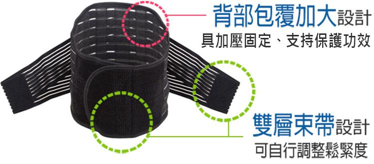 背部包覆加大設計,具固定加壓保護功效,雙層束帶設計,可自行調整鬆緊度